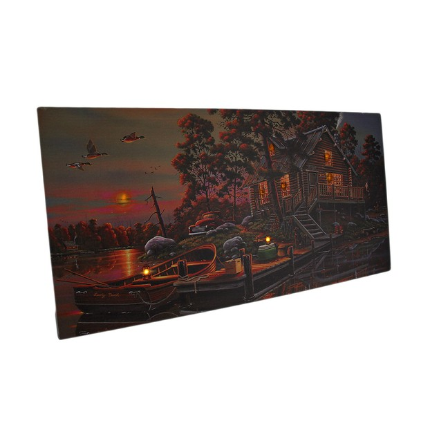 Led Lighted Morning Lake House Canvas Wall Art Prints