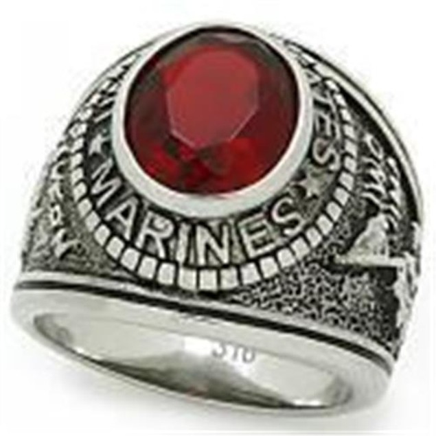 """Stainless Steel """"United States Marines"""" Red Stone Ring"""