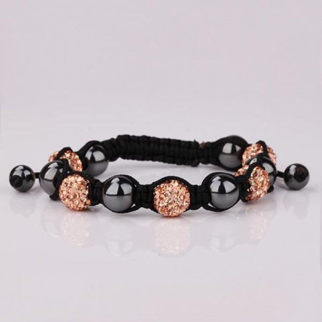 Disco Ball Strap Bracelet & Crystal Beads -Light Orange Citrine