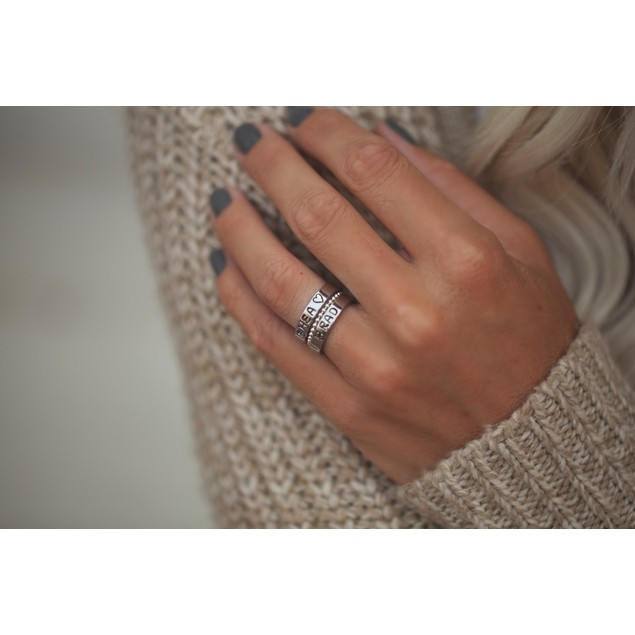 Set of 3 Stackable Personalized Hand Stamped Rings