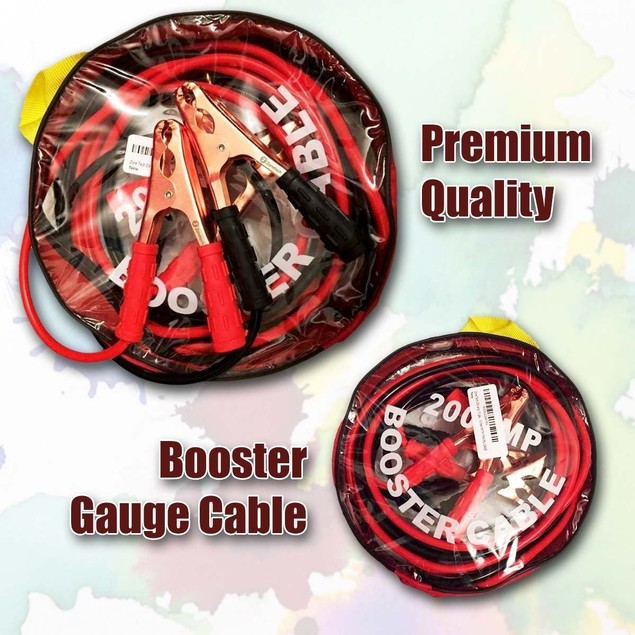 Zone Tech Heavy 12 Ft 10 Gauge 200 Amp Emergency  Battery Cables