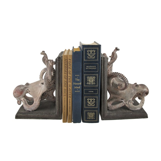 Squiggly Armed Octopus Bookends Set Of 2 Decorative Bookends
