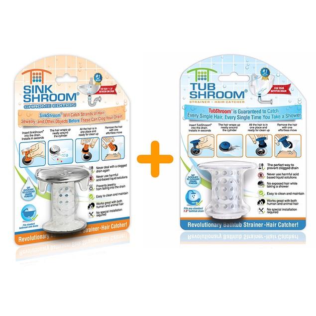 Combo Pack: 1 TubShroom Clear Original & 1 SinkShroom Chrome Edition