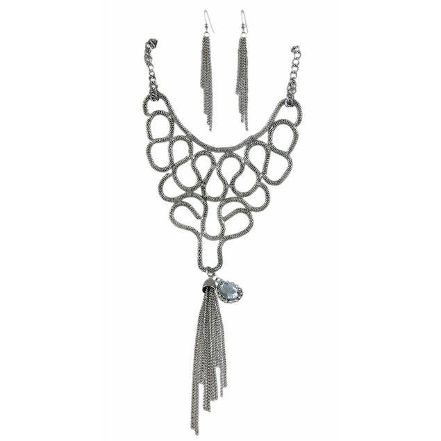 Chrome Snake Link Bib Necklace / Earrings Set Womens Earring And Necklace