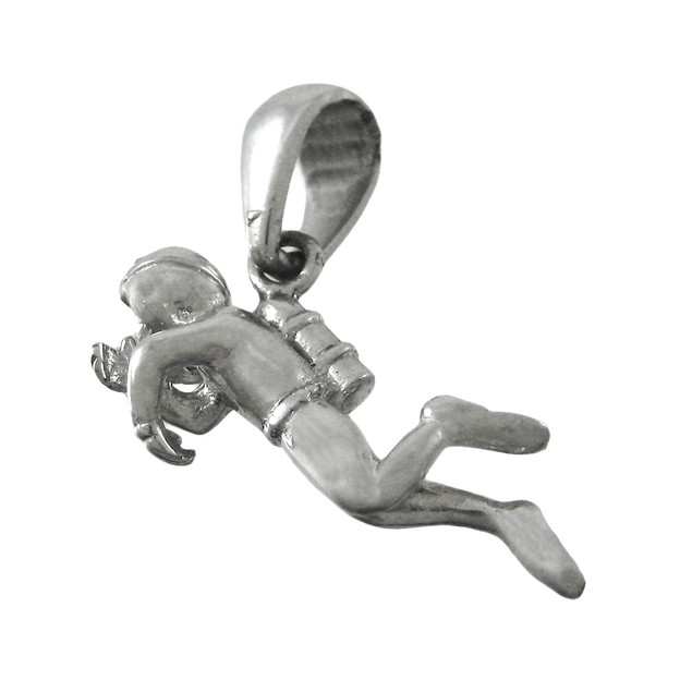 Beautifully Detailed Silvertone Scuba Diver Pendants