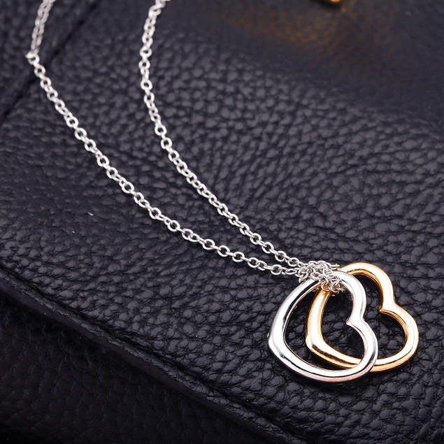 Gold Plated Double Heart Necklace