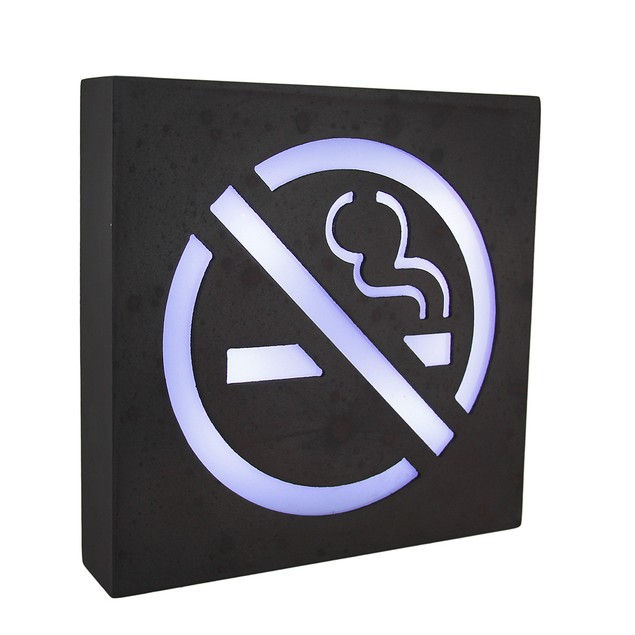 Rustic Brown Lighted Wooden No Smoking Symbol Wall Decorative Plaques