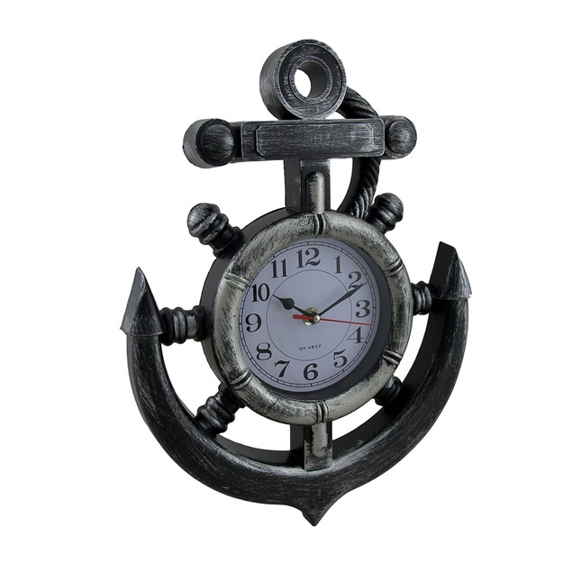 Nautical Anchor And Ship Wheel Antique Pewter Wall Clocks