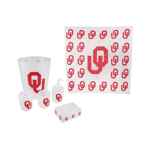 Oklahoma Sooners Frosted Finish 7 Piece Bath Set Bathroom Accessory Sets