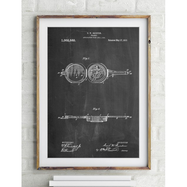 Pocket Transit Compass 1919 Patent Poster