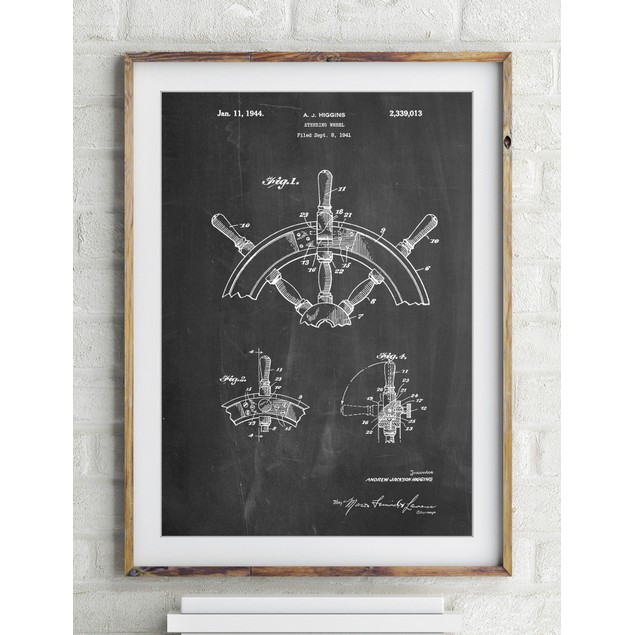 Ship Steering Wheel Patent Poster