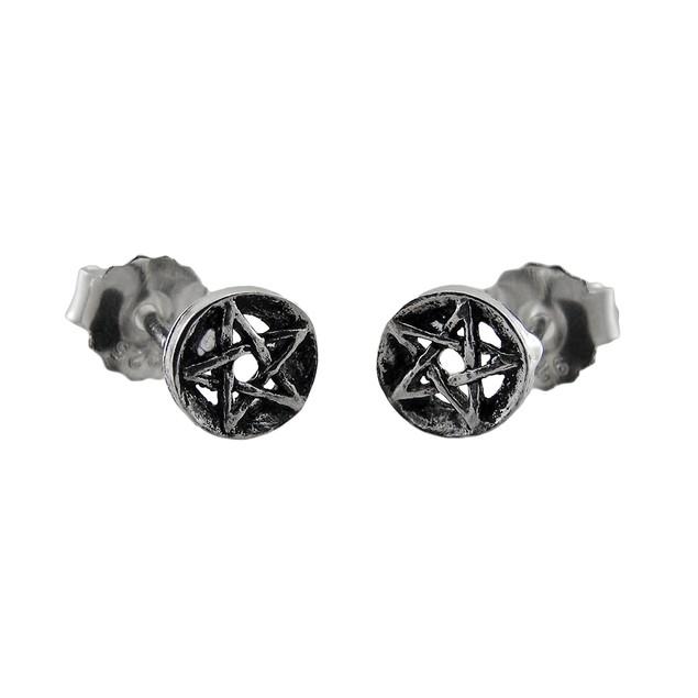 Sterling Silver Pentacle Stud Earrings Pagan Mens Stud Earrings