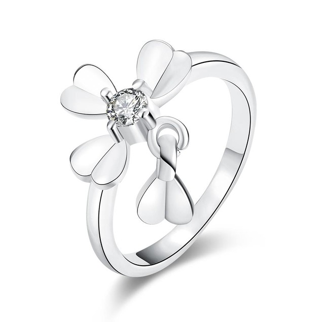 White Gold Plated Petite Clover Ring