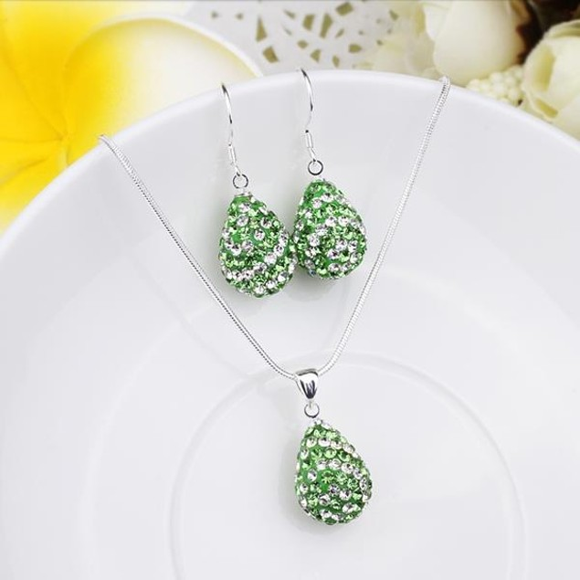 Austrian Stone Multi-Pave Pear Earring and Necklace Set - Swirl Green