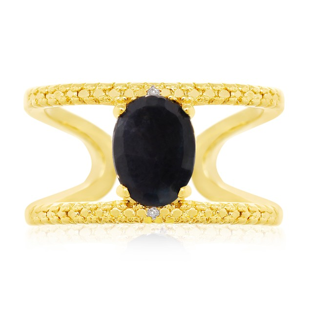 1.6ct Sapphire and Diamond Open Shank Ring