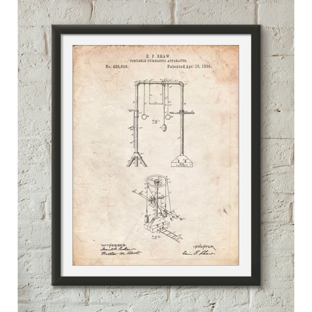 Portable Gymnastic Bars 1890 Patent Poster