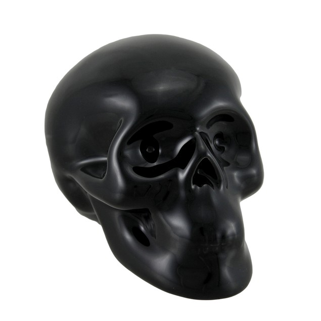3 1/2 Inch Tall Glossy Black Ceramic Human Skull Toy Banks