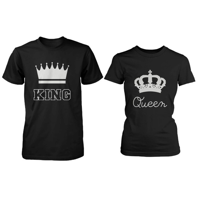 Cute Matching Couple Shirts - King and Queen Black Cotton T-shirt Set