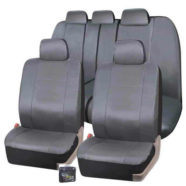 Zone Tech Gray Classic Leather Luxury Universal Car Seat Covers Full Set