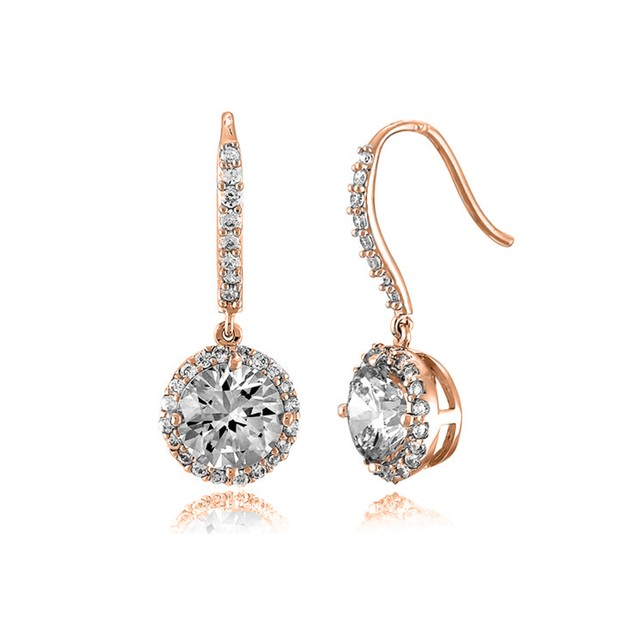 C.Z. Sterling Silver Rose Plated Round Drop Euro Earrings