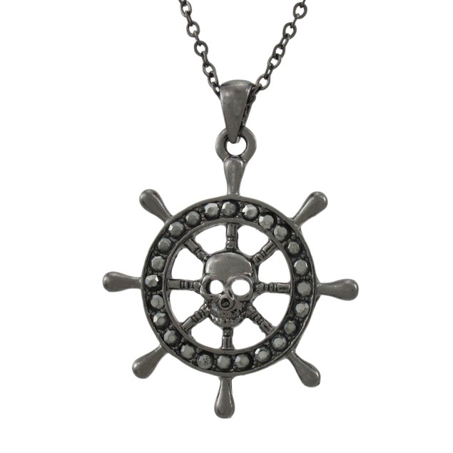 Gunmetal Pirate Ship`S Wheel Necklace Chain Necklaces