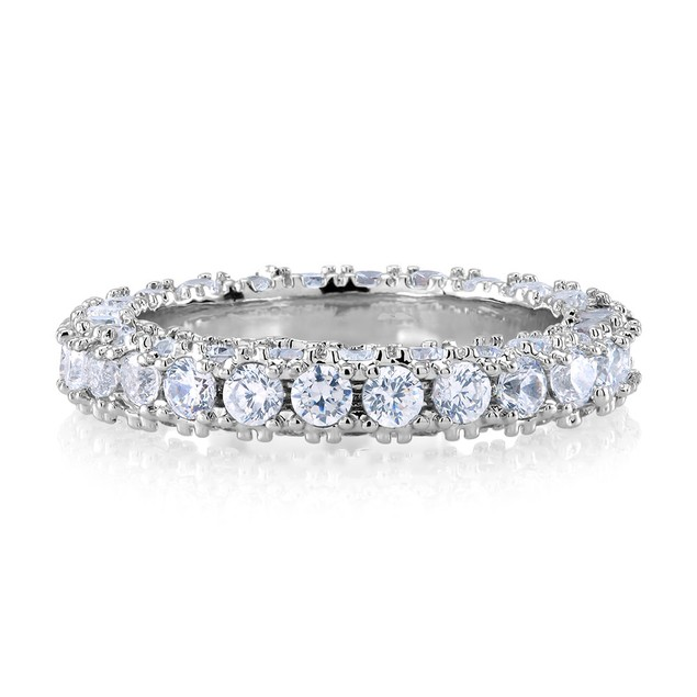 White Gold Plated Eternity Band - 3 Styles