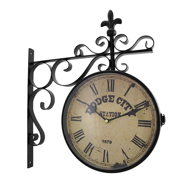 Double Sided Dodge City Station Hanging Wall Clock Wall Clocks
