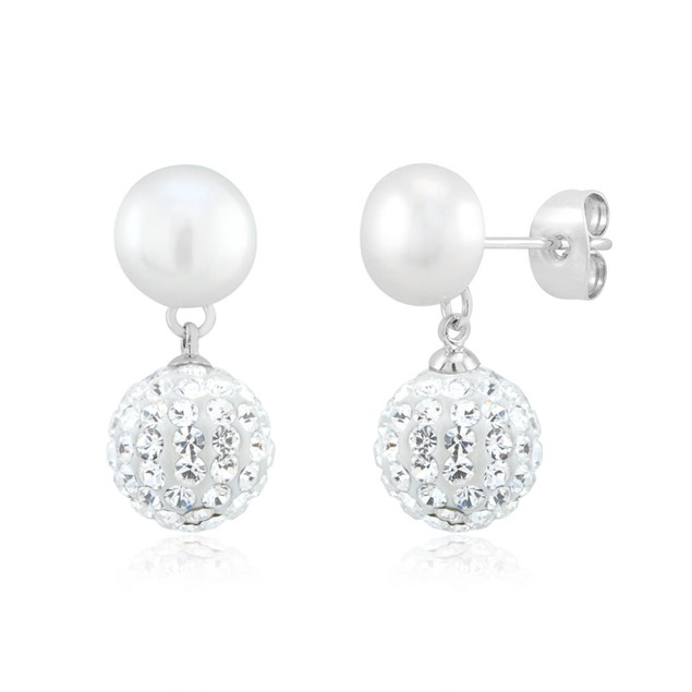 Gold Plated Crystal & Imitation Pearl Drop Earrings
