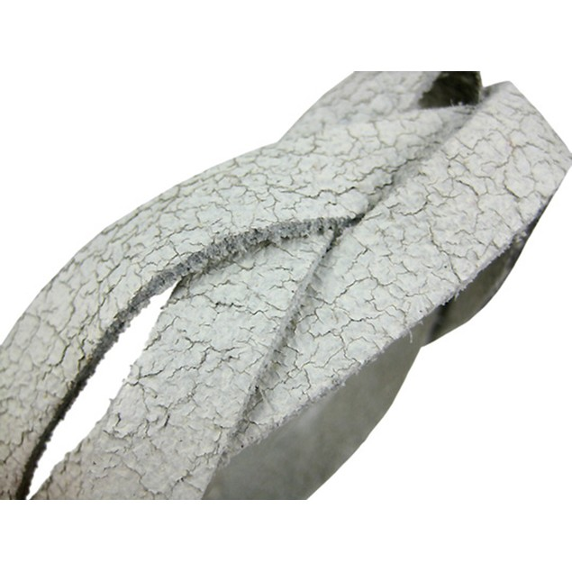 White Distressed Leather Braided Wristband Mens Leather Bracelets