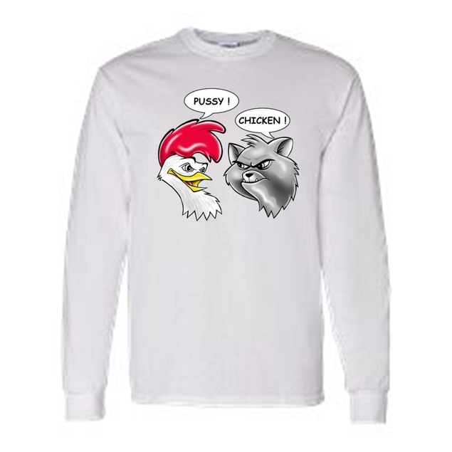 Men's/Unisex Funny Pussy! Chicken! Rooster to Cat  Long Sleeve T-shirt