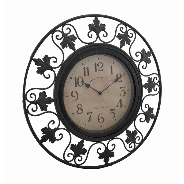 Scrolling Leafy Vine Black Metal Outdoor Wall Wall Clocks
