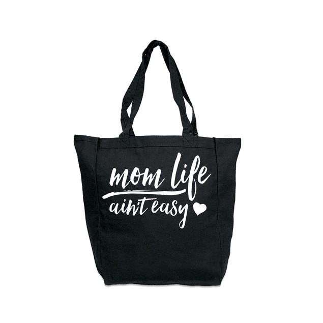 Mom Life Ain't Easy Black Tote Bag