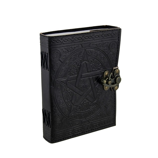 Pentagram Embossed Black Leather Bound Journal 5X7 Art Sketchbooks And