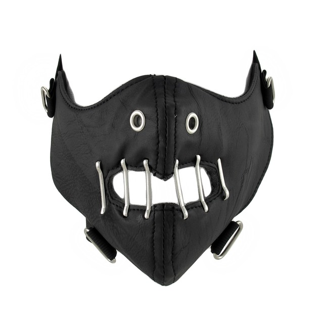 Gothic Black Vinyl Half Face Mask Facemask Powersports Protective Face