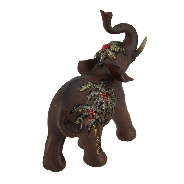 Trunk Up Elephant W/Golden Palm Tree Accents Faux Statues