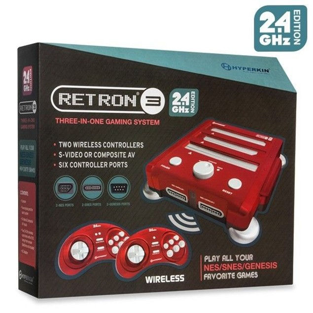 SNES/ Genesis/ NES RetroN 3 Gaming Console 2.4 GHz Edition (Laser Red)