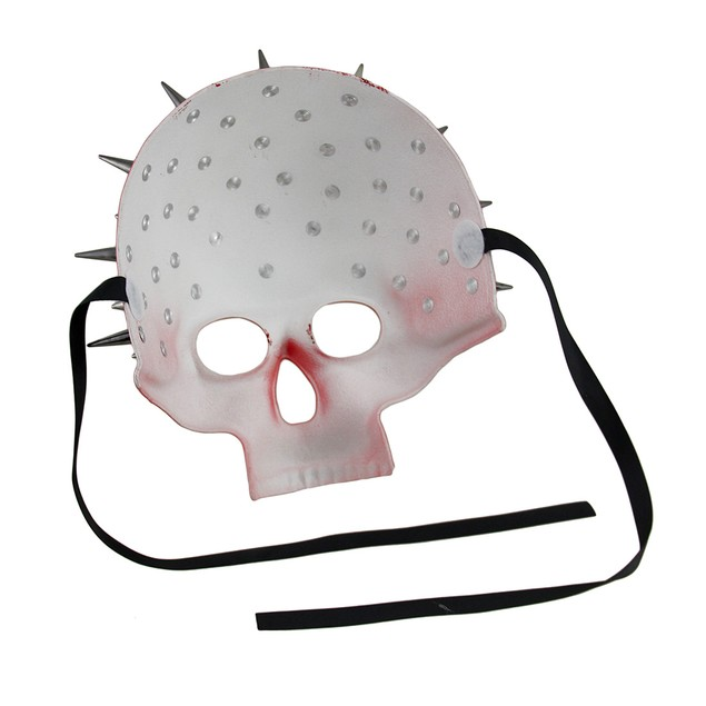 Spiked Red Half Face Skull Mask Mens Costume Masks