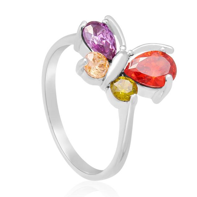 1 1/2 Carat Crystal Gemstone Butterfly Ring