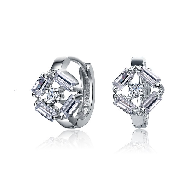 C.Z. Sterling Silver Sterling Silver Rhodium Plated Small Huggie Earrings