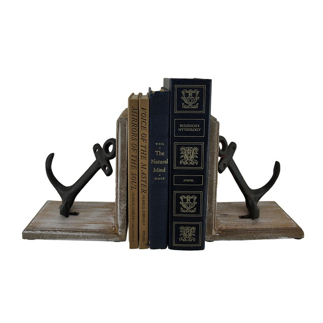 Wood And Cast Iron Nautical Anchor Decorative Decorative Bookends