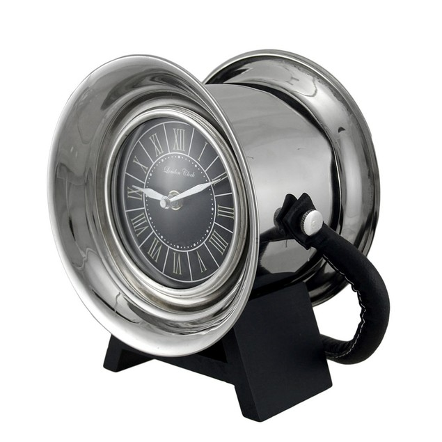 Polished Stainless Steel Decorative Spool Shaped Table Clocks