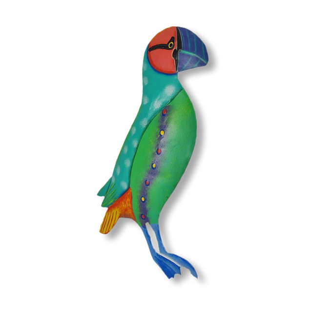 Brightly Colored Teal / Green Puffin Wall Hanging Wall Sculptures