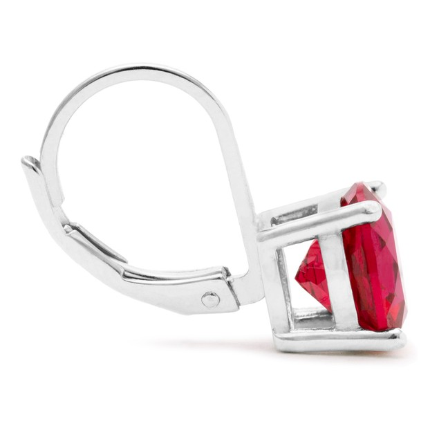 Sterling Silver Gemstone Leverback Earrings - 3 Colors