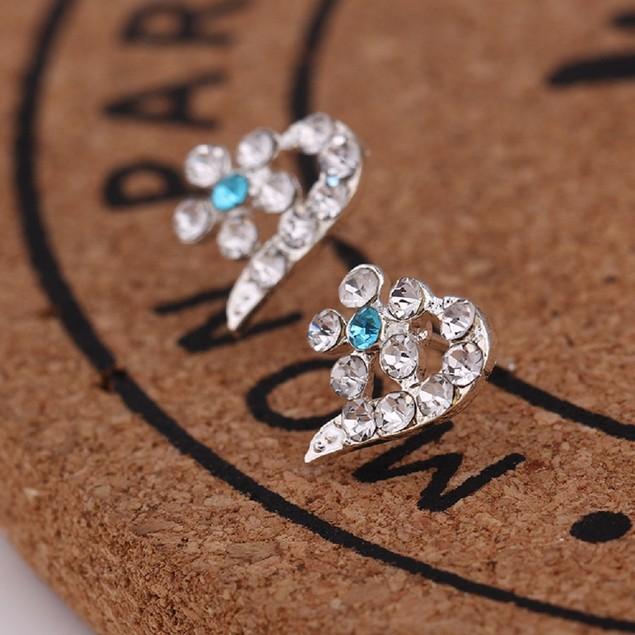 Silver Tone Heart Star Shaped Earrings