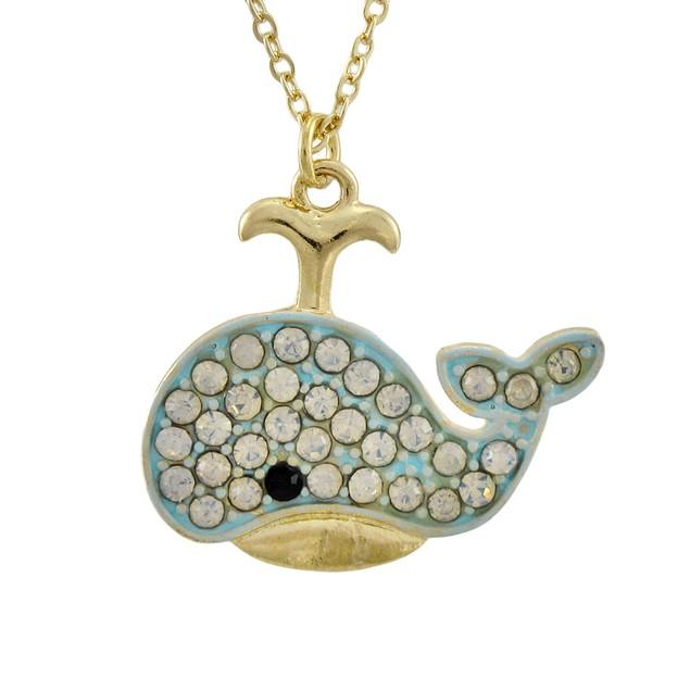 Gold Tone Rhinestone Whale Necklace Pendant Necklaces