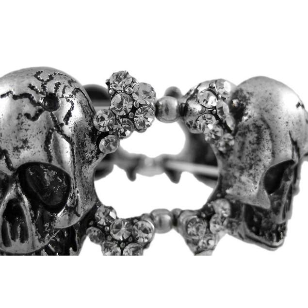 Pewter Skull & Crossbones Rhinestone Stretch Womens Stretch Bracelets