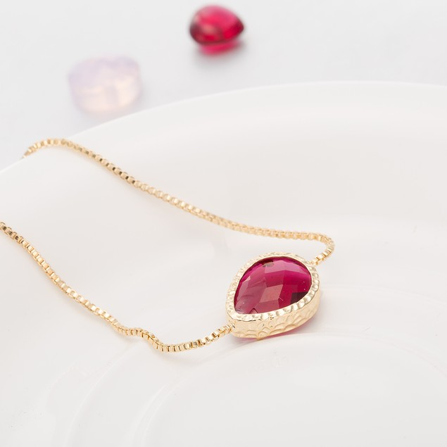Gold Plated Oval Vivid Ruby Gem Bracelet