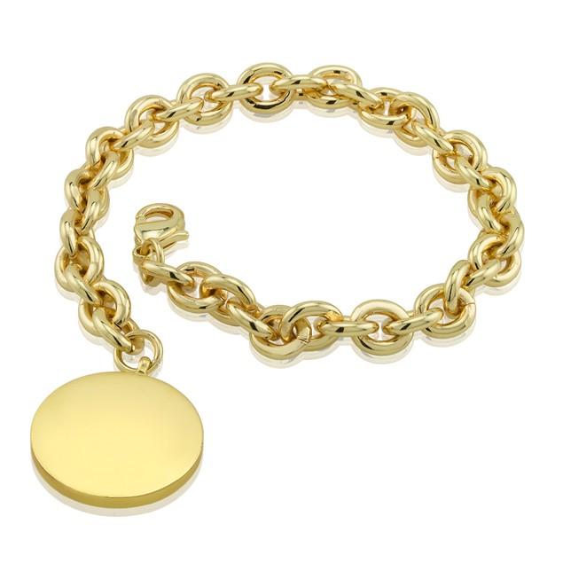 Monogrammed Round Charm Tag Bracelet - 3 Colors