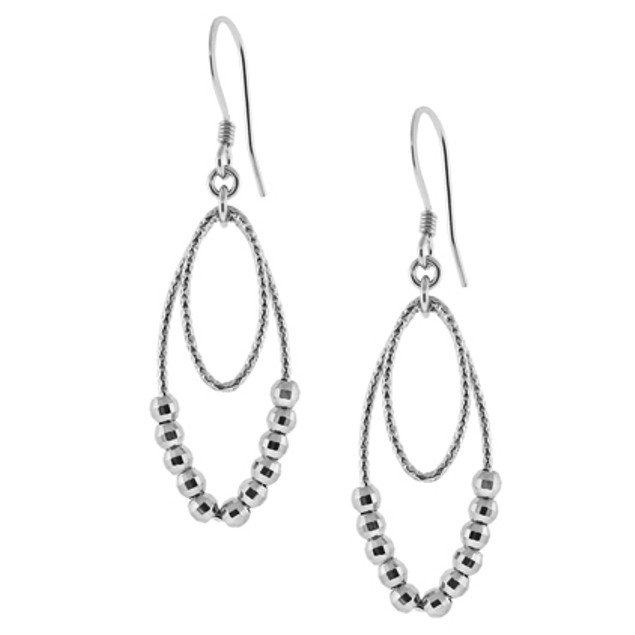 Sterling Silver Oval Studded Earrings Rhodium Finish