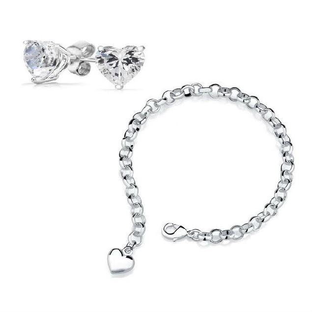 Silver Heart Charm Bracelet with Crystal Heart Stud Earrings